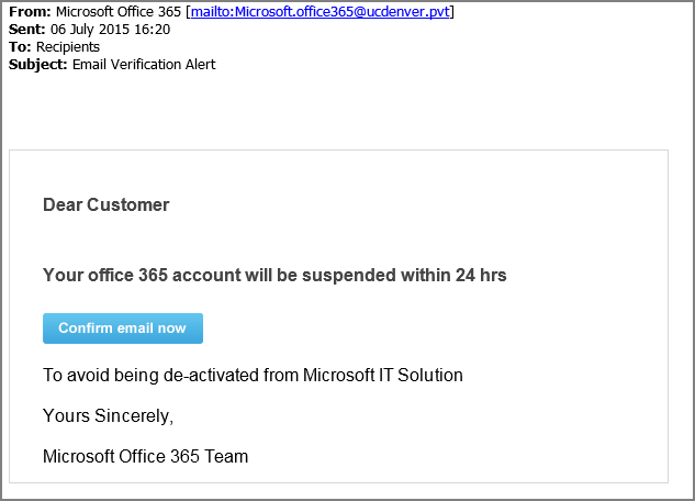Latest Email Phishing Scam Targets Office 365 Users | NETCONFIG